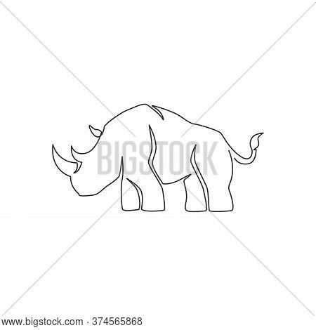 Single Continuous Line Drawing Of Big African Rhinoceros For Conservation National Park. Big African