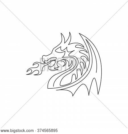 Single Continuous Line Drawing Of Fictional Monsters Dragon For Chinese Traditional Logo Identity. M