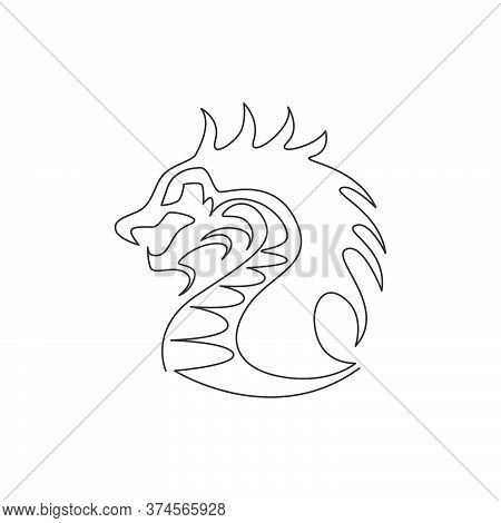 One Continuous Line Drawing Of Mythological Creature Dragon For Company Logo Identity. Fantasy Flyin