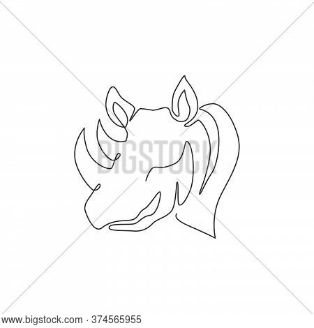 One Single Line Drawing Of Strong Rhinoceros Head For Conservation National Park Logo Identity. Afri