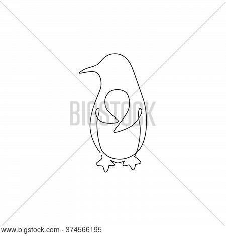 One Single Line Drawing Of Fun Cute Penguin For Company Business Logo Identity. North Pole Bird Masc