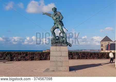 Saint-malo, France - September 3, 2019: This Is A Monument To Privateer Robert Surkuf On The Old Cit