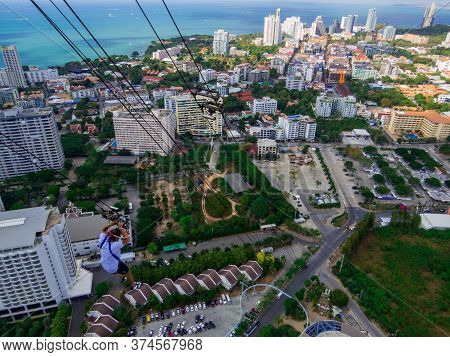 Pattaya, Thailand - December 31, 2019: Man Doing The Tower Jump From The Top Of The Pattaya Tower.