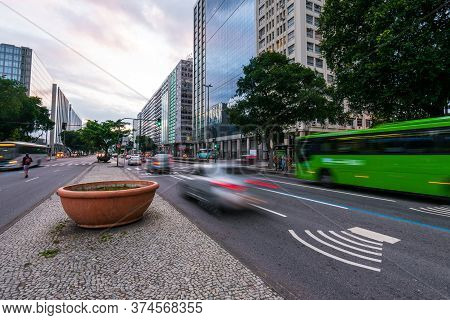 Rio De Janeiro, Brazil - July 2, 2020: Traffic In Presidente Vargas Avenue In The City Downtown. Bec