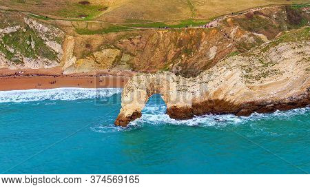 Durdle Door At The Jurassic Coast In England - Aerial View -aerial Photography