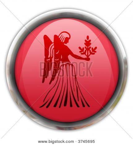 Button With The Zodiacal Sign Virgo