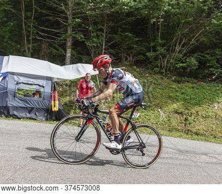 Le Bourget-du-lac, France - July 9, 2017: The South African Cyclists Louis Meintjes Of Uae Team Emir