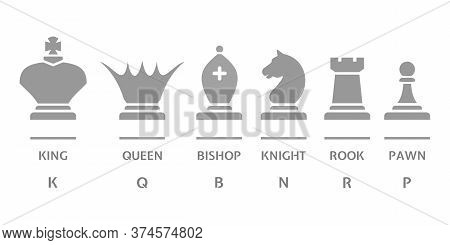 Chess Icons Set Is Isolated On White. Stylized Silhouettes Of Chess Pieces - King, Queen, Bishop, Kn