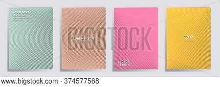 Semicircle Lines Halftone Grid Covers Vector Set. Abstract Brochure Title Page Layouts. Banners, Pos