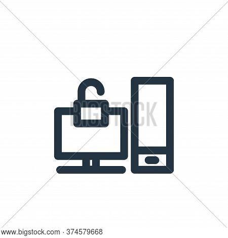 unlocked icon isolated on white background from computer hardware collection. unlocked icon trendy a