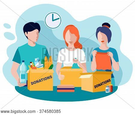 Donations And Charity. Food And Clothes Donation. Vector Flat Illustration. Social Care And Charity
