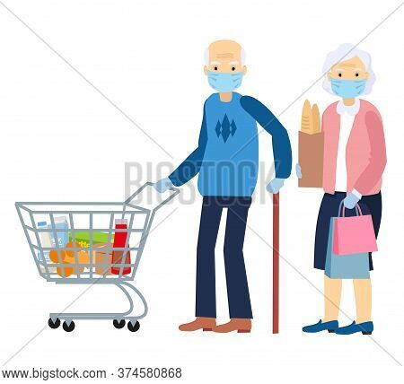 An Elderly Man And An Elderly Woman Is In A Grocery Store, Wear A Mask. Protective Measures Under Th