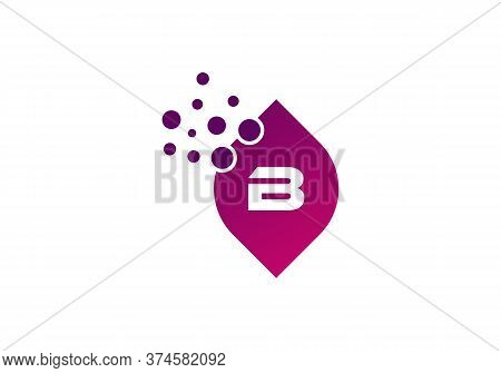 Letter B Colorful Bubbles Vector. B Letter Logo Design Vector With Dots And Leaf Concept.