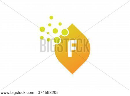 F Bubbles Vector. F Letter Logo Design Vector With Dots And Leaf. Minimalist F Letter Logo Leaf Conc