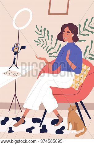 Cheerful Woman Speaking At Live Streaming Use Smartphone Vector Flat Illustration. Female Blogger In
