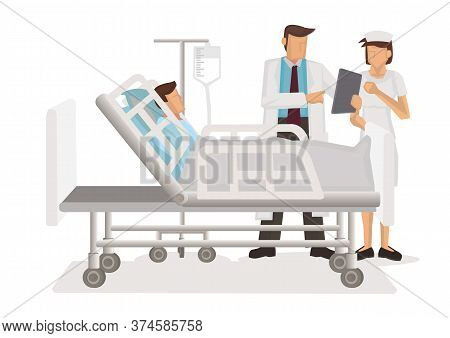 Doctor And Nurse With Tablet Computer Visiting Patient Man At Hospital Ward. Medicare Concept. Flat