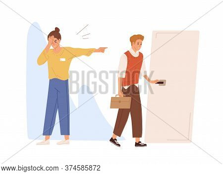 Young Male Employee Dismissed From Job Vector Flat Illustration. Upset Female Employer Pointing On D