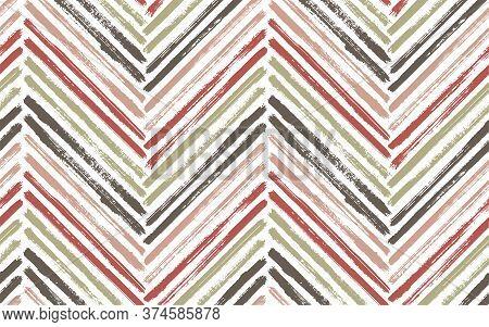 Irregular Chevron Fashion Print Vector Seamless Pattern. Paint Brush Stroke Geometric Stripes. Hand
