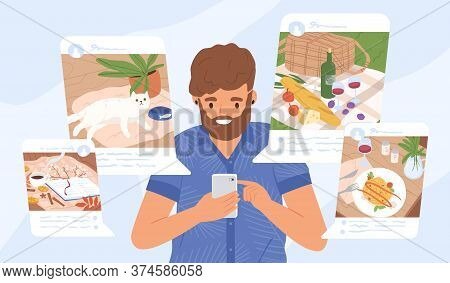 Young Guy Sharing Moments At Social Networks Vector Flat Illustration. Modern Male Holding Smartphon