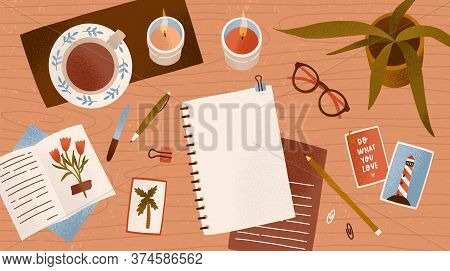 Top View Empty Paper Notepad For Drawing Or Write Diary Vector Flat Illustration. Clean Notebook For
