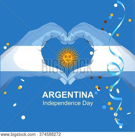 Argentina Independence Day Greeting Card. Hands Palm Argentina Flag And Sun Show Heart Love Symbol.