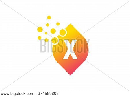 Letter X Colorful Bubbles Vector. X Letter Logo Design Vector With Dots And Leaf Concept.