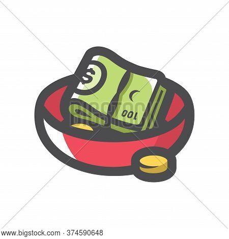 Plate Money. Alms. Waiter Tips. Vector Cartoon Illustration