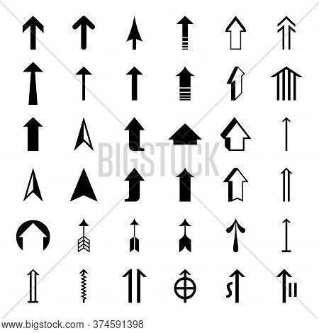 Set Up Arrow Icon. Collection Different Up Arrows Sign. Set Of Flat Icons, Signs, Symbols Up Arrow F