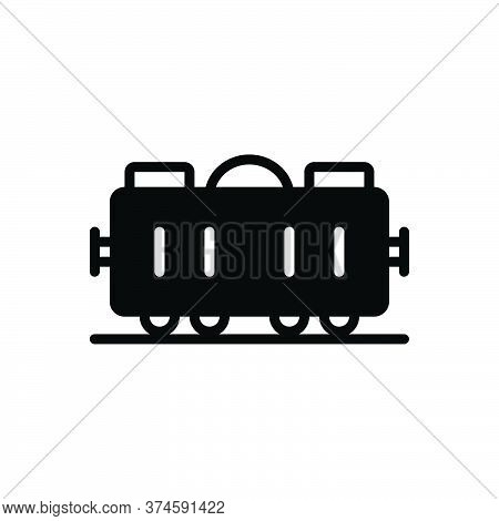 Black Solid Icon For Goods-train Goods Train Wagon Cargo Container Transportation