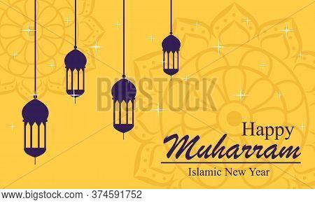Flat Design Happy Islamic New Year Vector