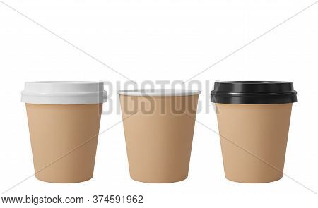 Little Brown Paper Coffee Cups With Black And White Lids. Open And Closed Small Paper Cup. Realistic