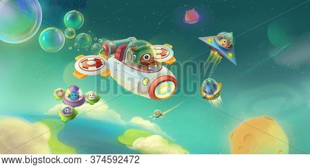 Space Aircrafts In Universe. Fantasy Backdrop. Concept Art. Realistic Illustration. Video Game Digit