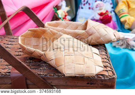Russia, Khabarovsk, August 18, 2018: National Russian-folk Souvenirs, Bast Bast Shoes