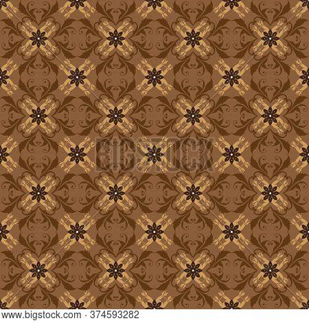Unique Flower Pattern Design On Jogja Batik With Elegant Brown Color
