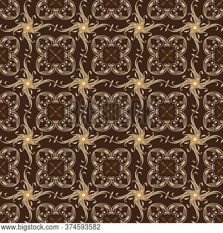Beautiful Flower Pattern On Jogja Batik With Golden Brown Color Design