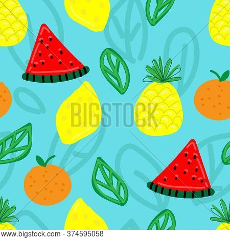 Vector Seamless Pattern, Funny Primitive Bright Fruits And Berries Against A Bright Blue Background