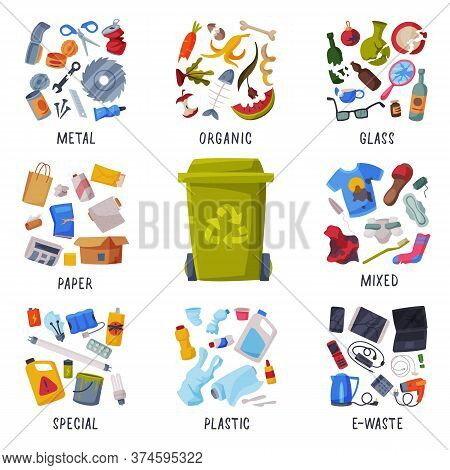 Waste Sorting, Different Types Of Garbage, Paper, Plastics, Metal, Glass, Organic, E-waste, Segregat