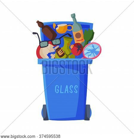 Waste Sorting, Blue Trash Can With Glass Sorted Garbage, Segregation And Separation Rubbish Disposal