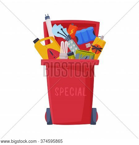 Waste Sorting, Red Trash Can With Red Sorted Garbage, Segregation And Separation Rubbish Disposal Re