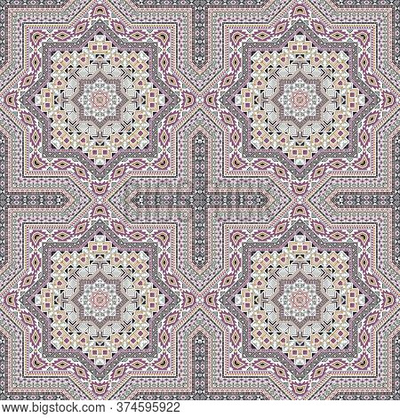 Elegant Moroccan Zellige Tile Seamless Ornament. Ethnic Geometric Vector Patchwork. Curtains Print D