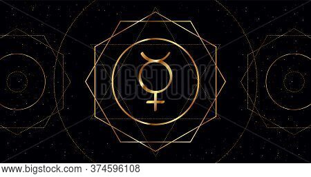 Mercury Planet Icon. Astrological Sign Of Golden Color On A Black Background With Geometric Ornament