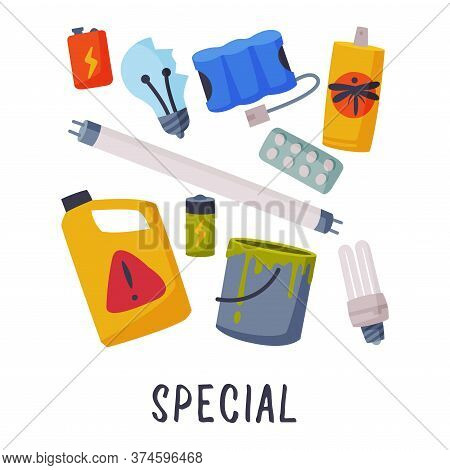 Special Waste Sorting, Segregation And Separation Of Garbage Vector Illustration On White Background