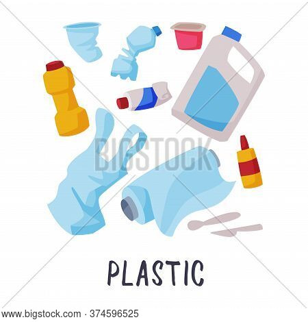 Plastic Waste Sorting, Segregation And Separation Of Garbage Vector Illustration On White Background