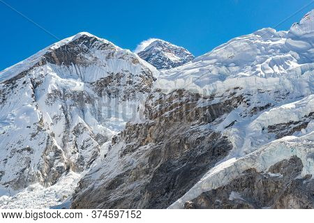 Scenery View Of Mount Everest (the Black Peak In The Centre Of Image) The Highest Mountains In The W