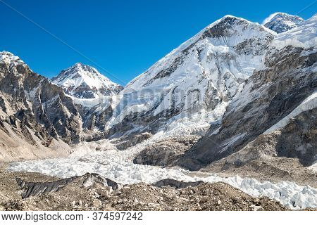 The Geology Landscape Of Khumbu Glacier And Himalayan Range View From Everest Base Camp (5,365 M) In