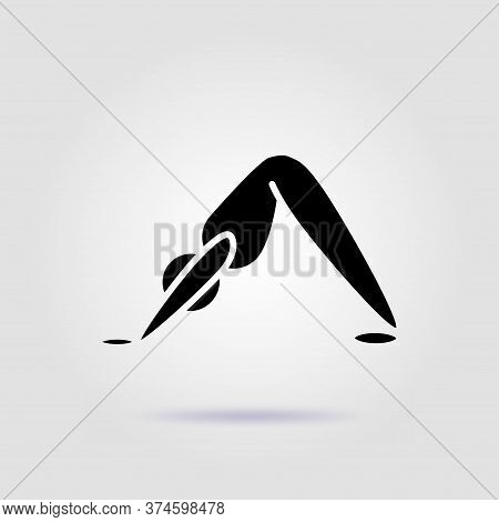 Yoga Pose Adho Mukha Svanasana Black Icon On Gray Background With Soft Shadow