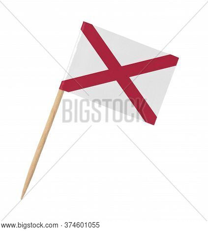 Small Paper Us-state Flag On Wooden Stick - Alabama