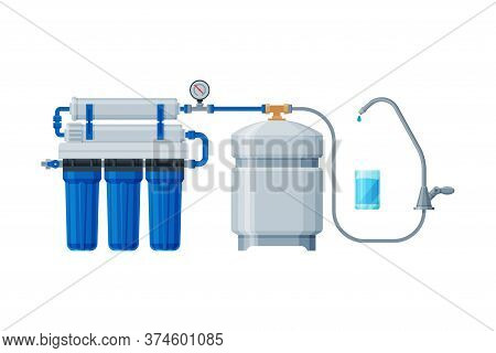 Water Filtration System, Special Modern Technology For Water Purification Vector Illustration On Whi