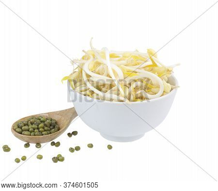 Bowl Of Mung Bean Sprouts Isolated On White