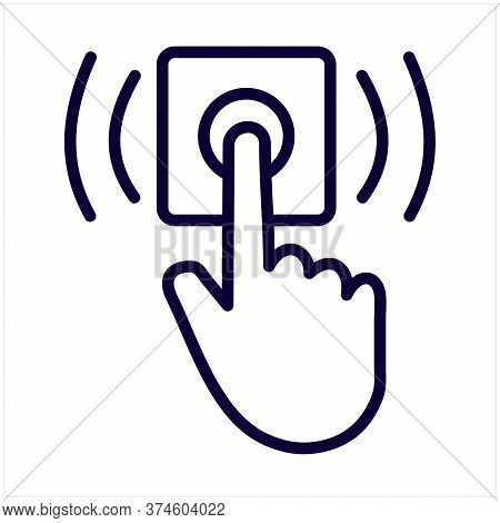 Ring Door Bell Line Icon, Delivery Symbol, Hand Push Bell Button Vector Sign On White Background, Fi